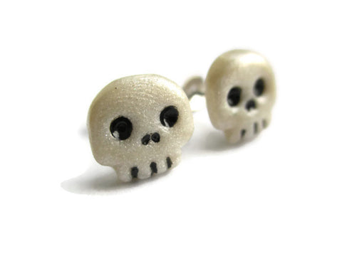 Miniature Skull Earrings - Polymer Clay Halloween Jewelry