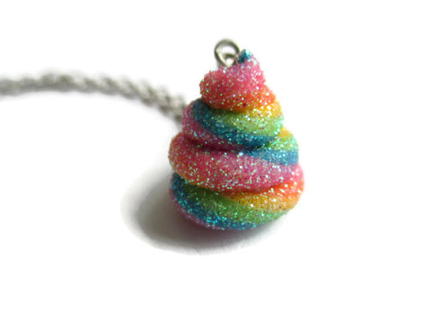 Rainbow Unicorn Poo Necklace - Fantasy Unicorn Pendant - Funny Gift
