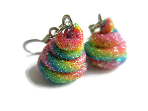 Unicorn Poop Rainbow Jewelry Earrings - Pony Cosplay