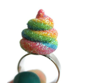Unicorn Poo Adjustable Ring - Polymer Clay Unicorn Jewelry