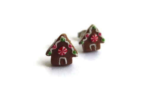 Miniature Gingerbread House Earrings - Tiny Food Jewelry