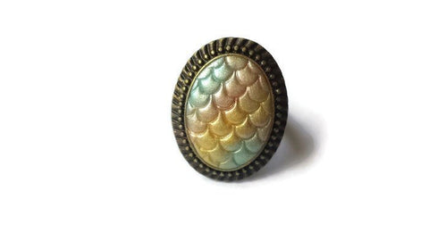 Pearl Rainbow Dragon Mermaid Scale Ring - Fantasy Creature Gift