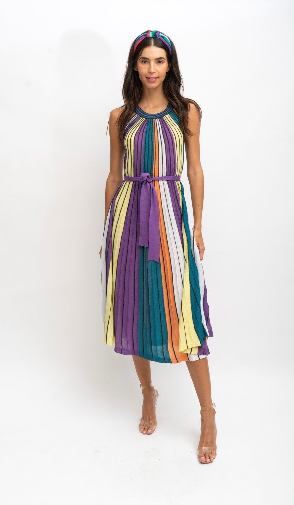 Pleated Textured Midi Dress - At Piece Kyle | Alene Too