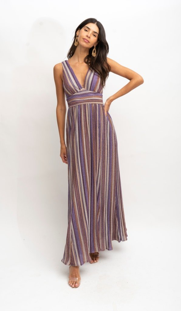 Pleated Lurex Maxi Dress - At Piece Kyle | Alene Too
