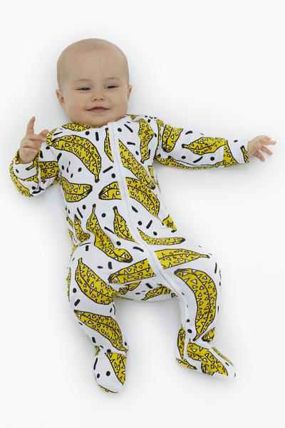 Darlo Ethical Babywear Bonkers in Bananas Sleepsuit with zip