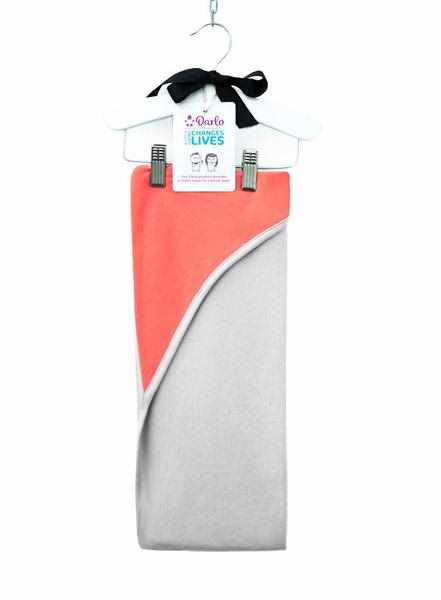Darlo Ethical Babywear coral and grey hooded swaddle blanket
