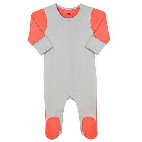Darlo Ethical Babywear coral and grey sleepsuit with poppers