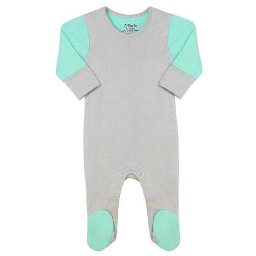 Darlo Ethical Babywear mint and grey sleepsuit with poppers