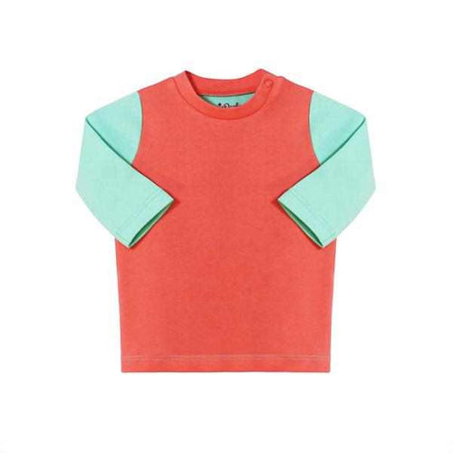 Darlo Ethical Babywear coral and mint long sleeve top