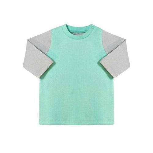 Darlo Ethical Babywear grey and mint long sleeve top