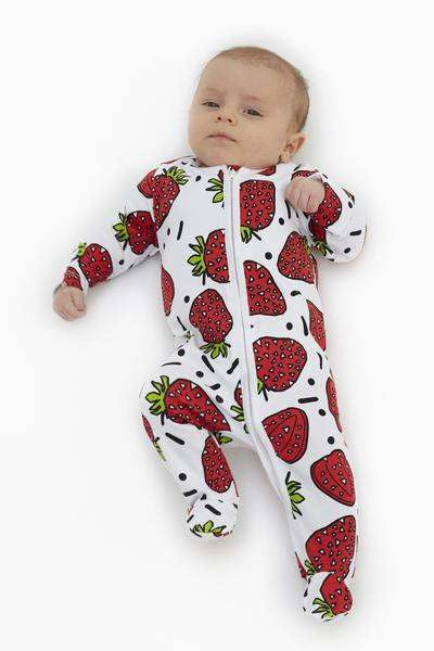 Sweet Strawberry Sleep Suit with zip