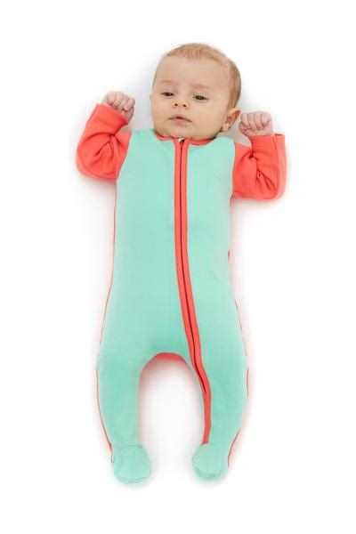 Sleep Tight Little One Sleep Suit with zip in coral and mint