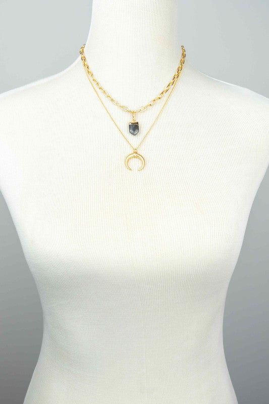 Gold chain layer necklace with crescent moon