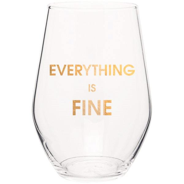 Everything is Fine Stemless Wine Glass - S.O.S Save Our Soles