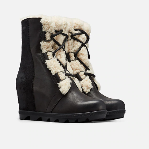 Sorel Joan of Arctic Wedge Shearling Lace Up Boot - S.O.S Save Our Soles