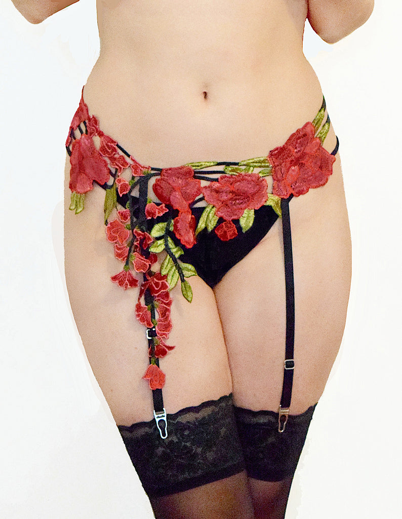 Trailing Flowers Garter Belt - Red