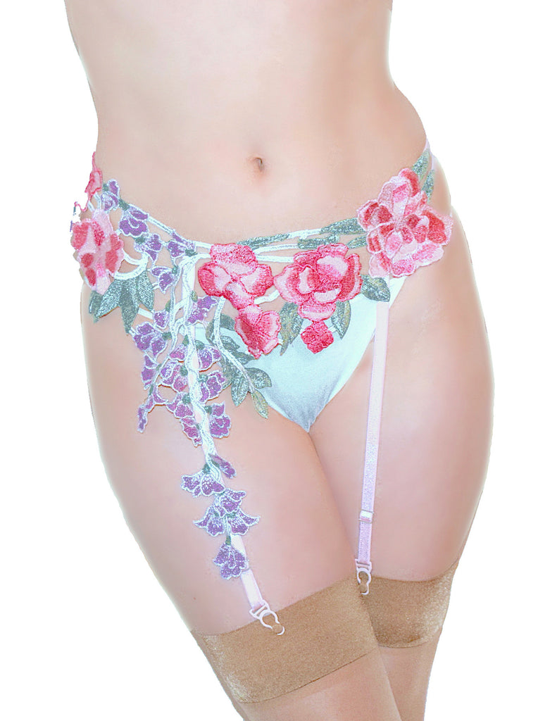 Trailing Flowers Garter Belt