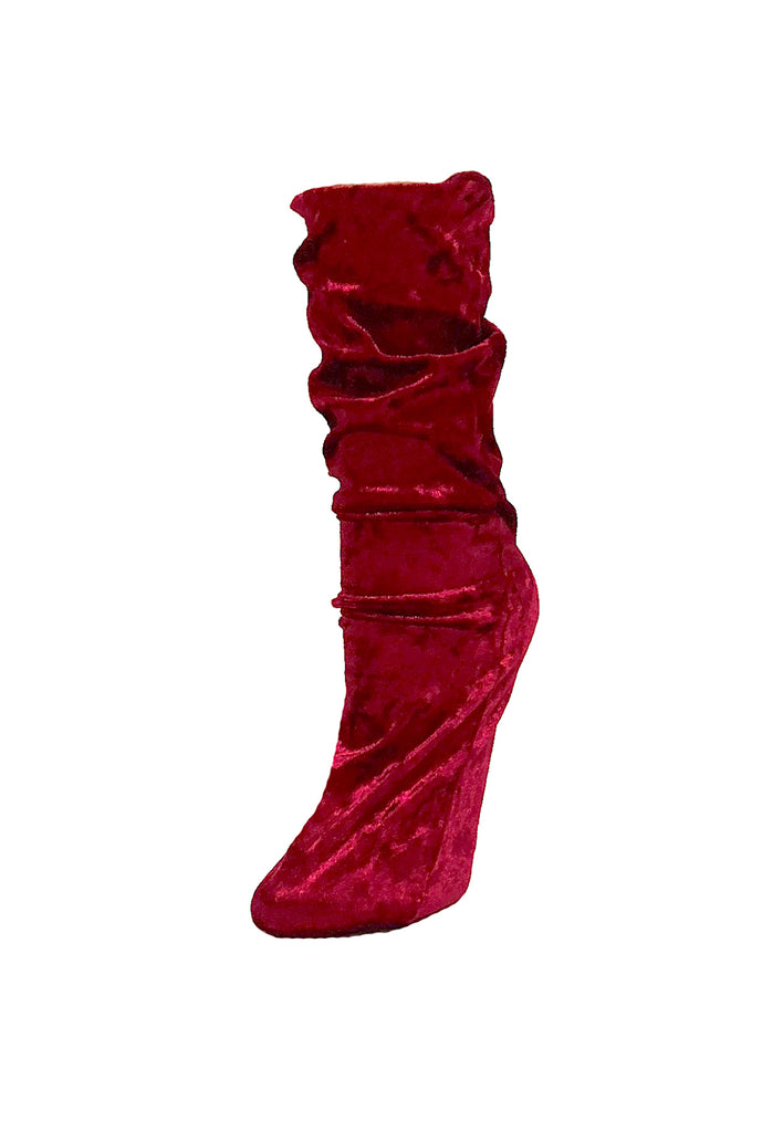 Velour Crew Socks - Deep Red