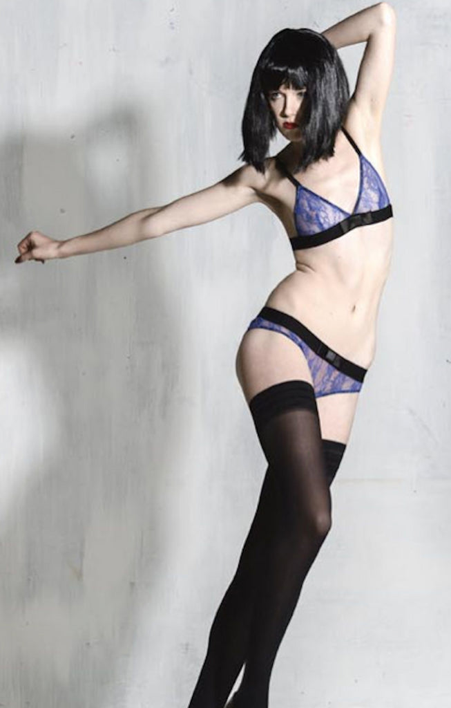 silvia electric blue triangle bra and maike knicker