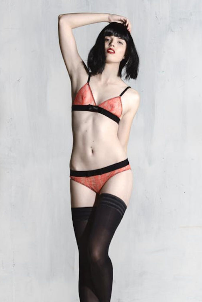 silvia sunset orange triangle bra and maike knicker