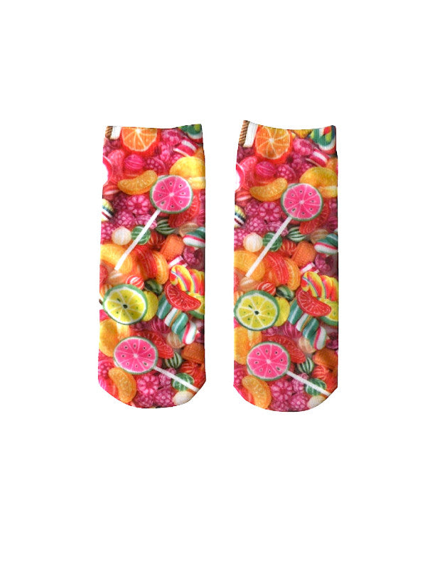 candy crush ankle socks