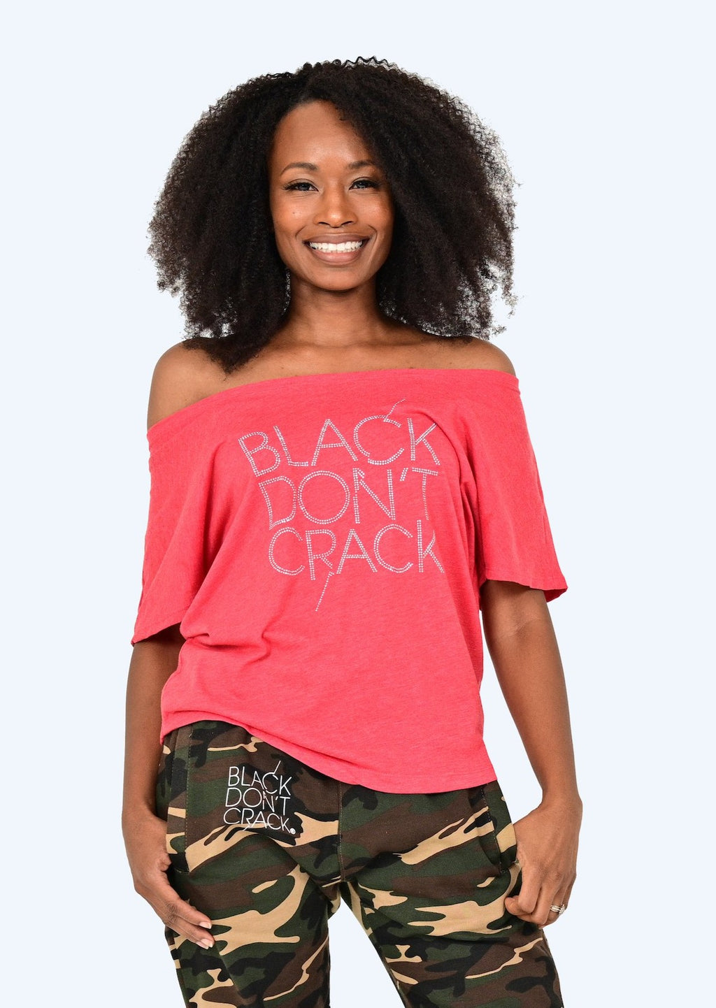 Black Don't Crack Vintage Red Dolman Ladies Off The Shoulder Top