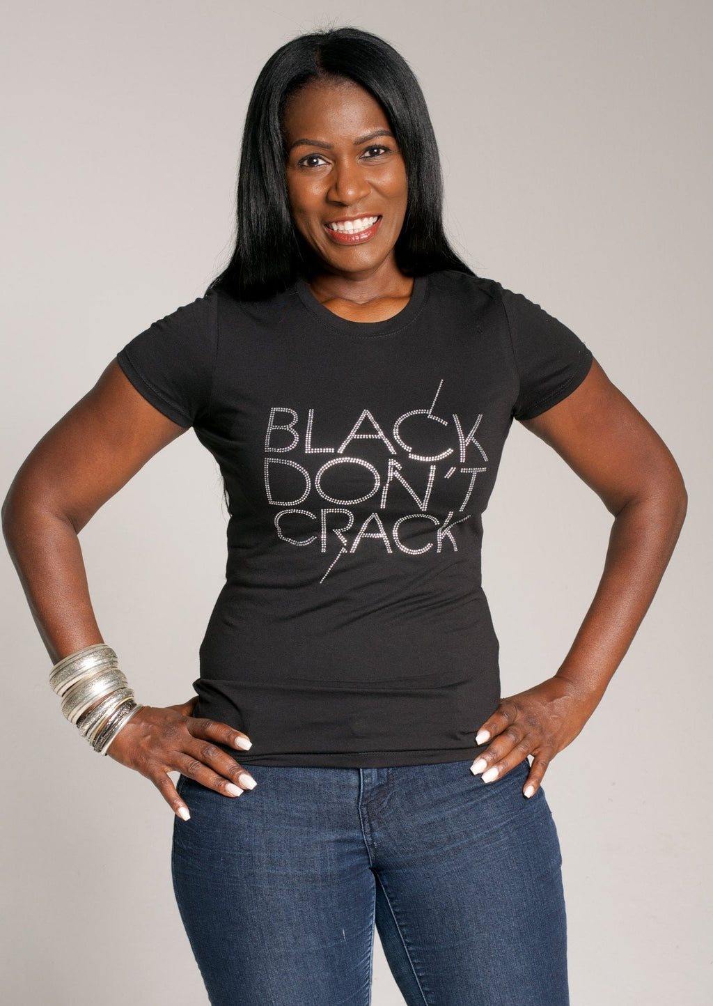 Black Don't Crack Ladies Bling Short Sleeve Crew-Neck