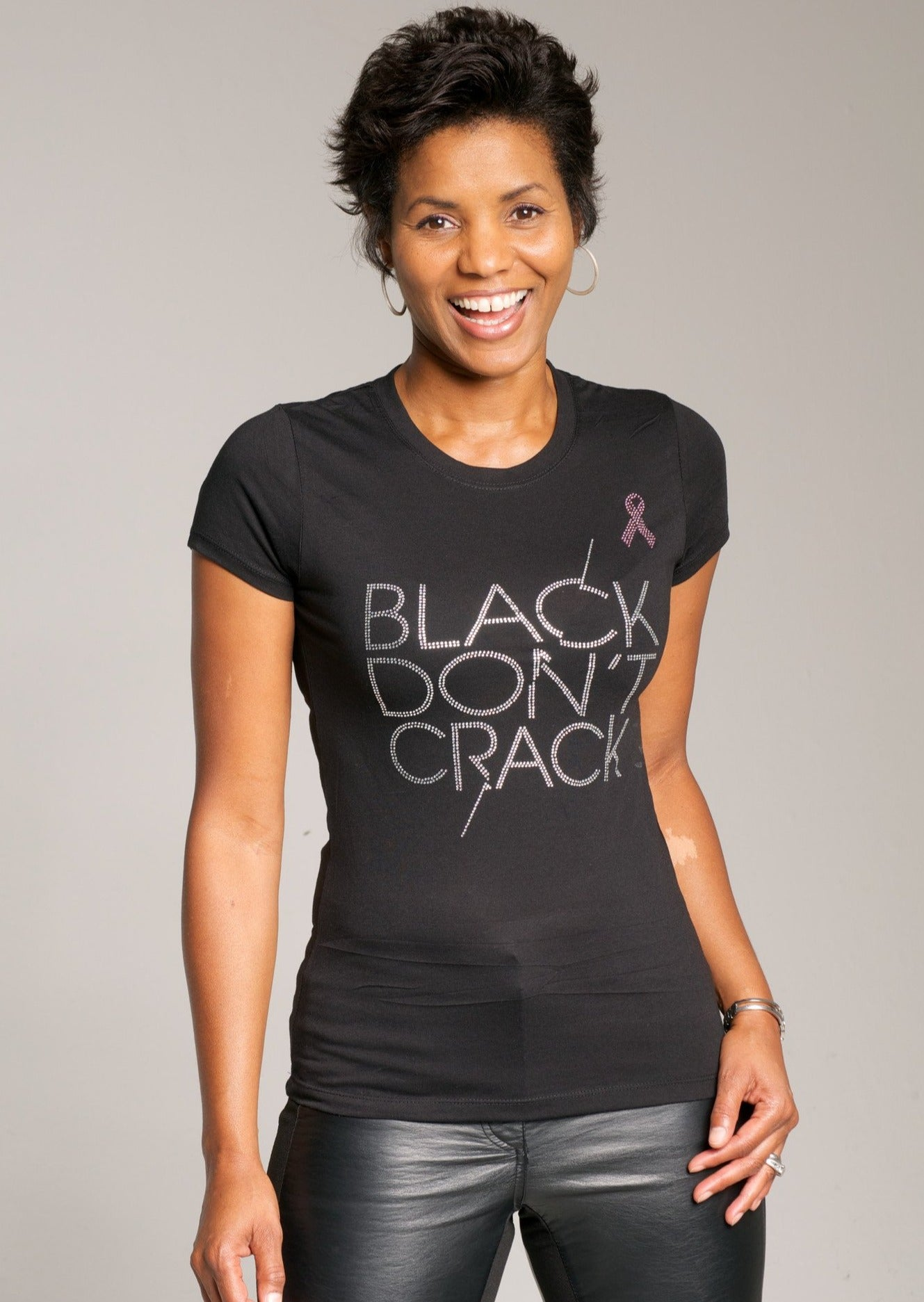Black Don't Crack Ladies Bling Breast Cancer Awareness Short Sleeve Crew-Neck T-shirt