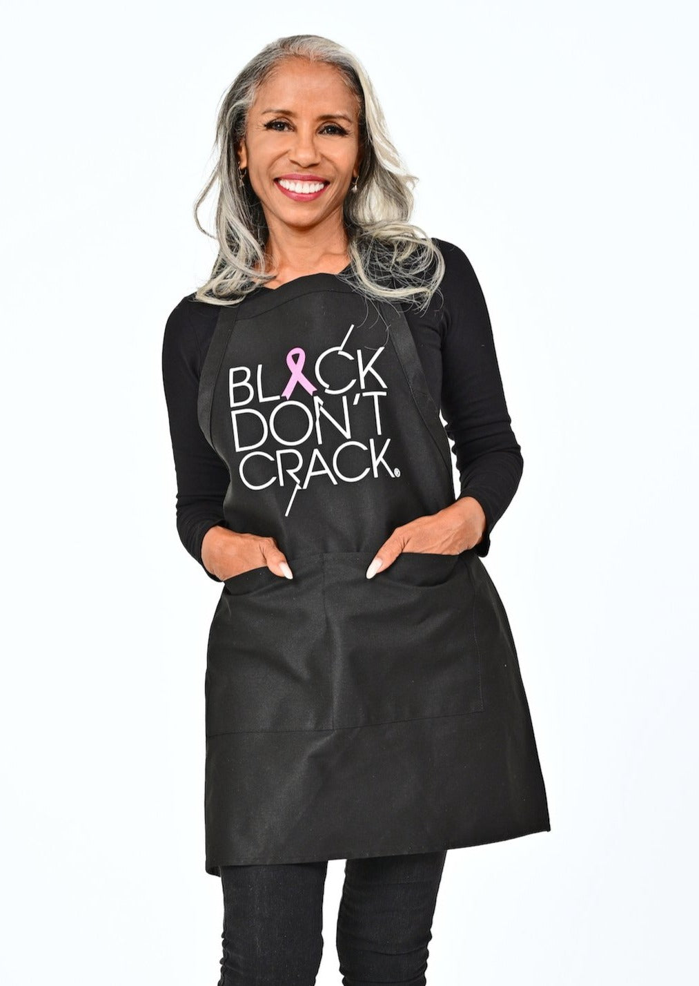Black Don't Crack Breast Cancer Bib Apron