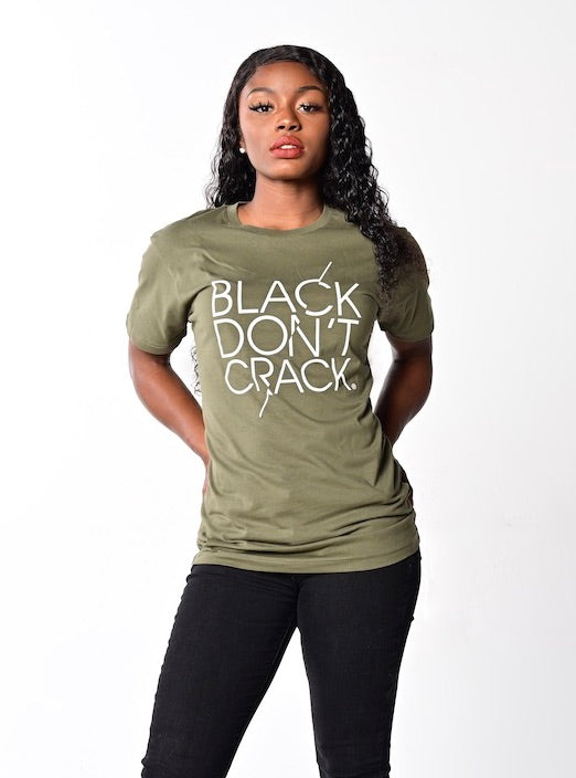 Womens Black Don't Crack Casual Crew-Neck Short Sleeve T-Shirt