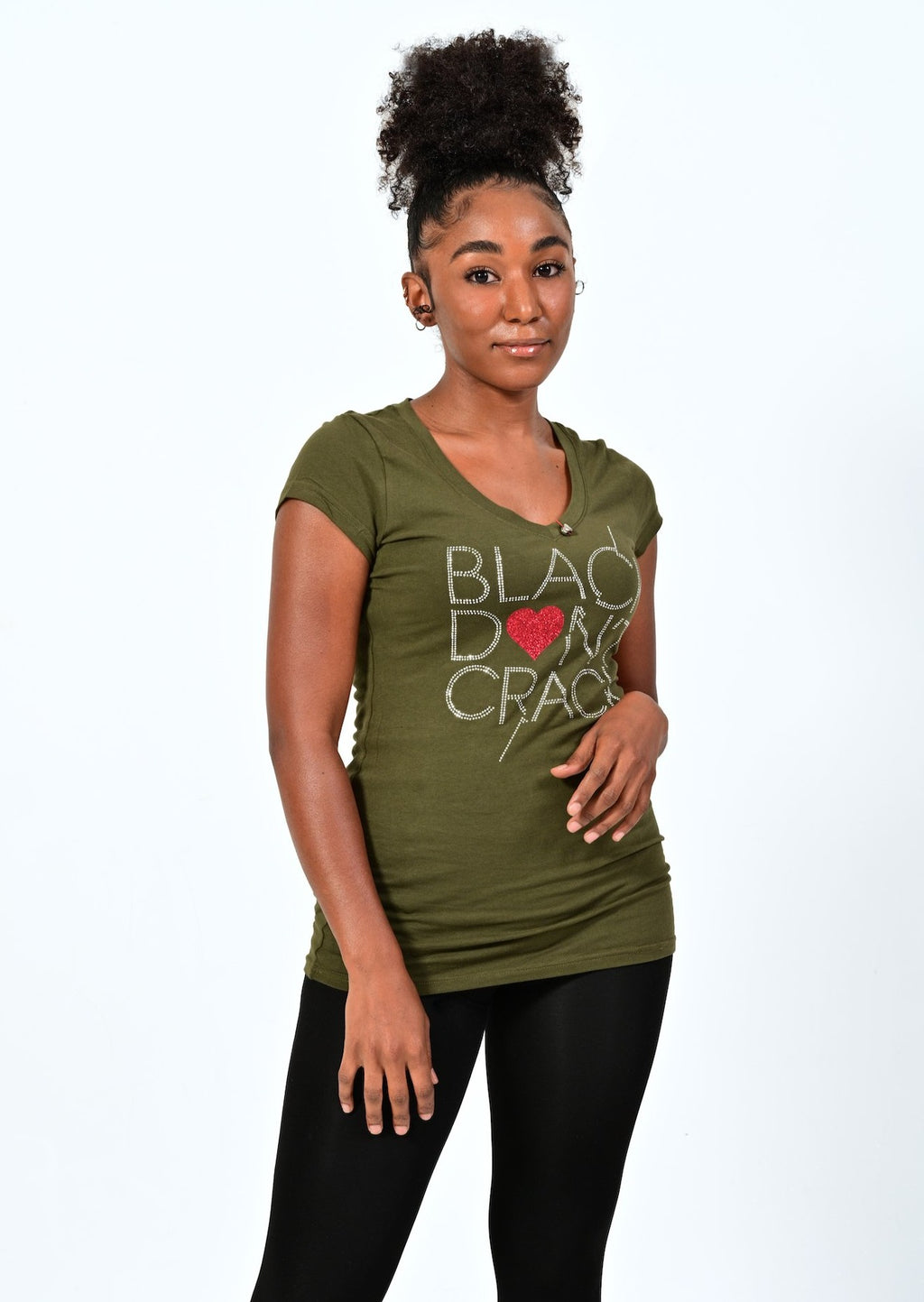 Black Don't Crack Love Collection Bling Olive Short Sleeve Ladies V-Neck