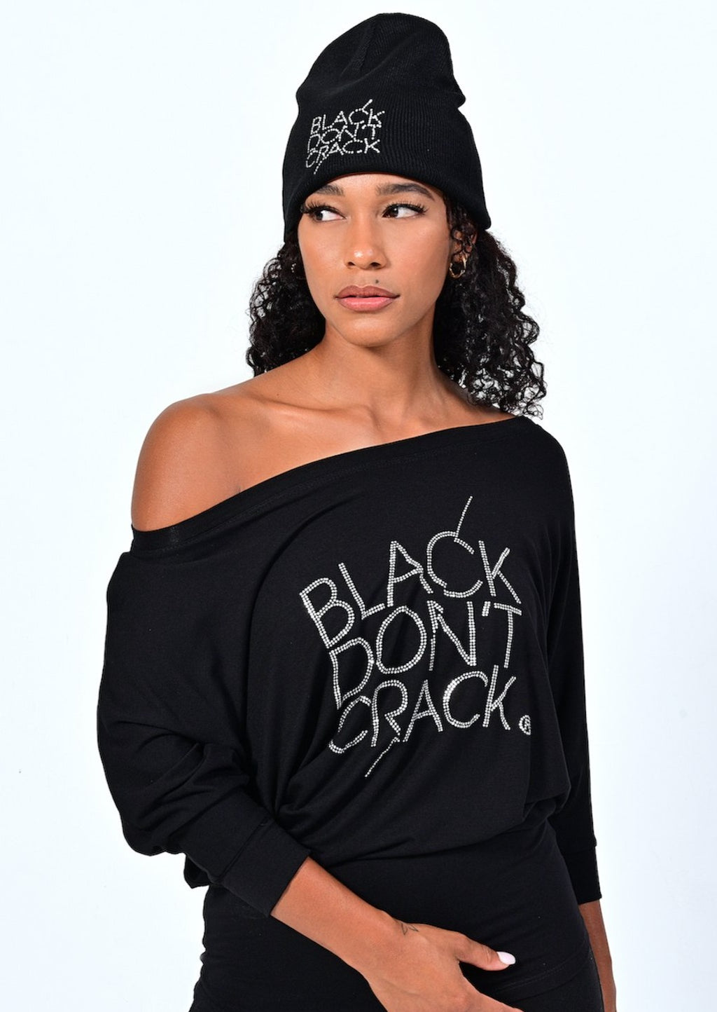 Black Don't Crack 3/4 Sleeve Off The Shoulder Black Dolman Top