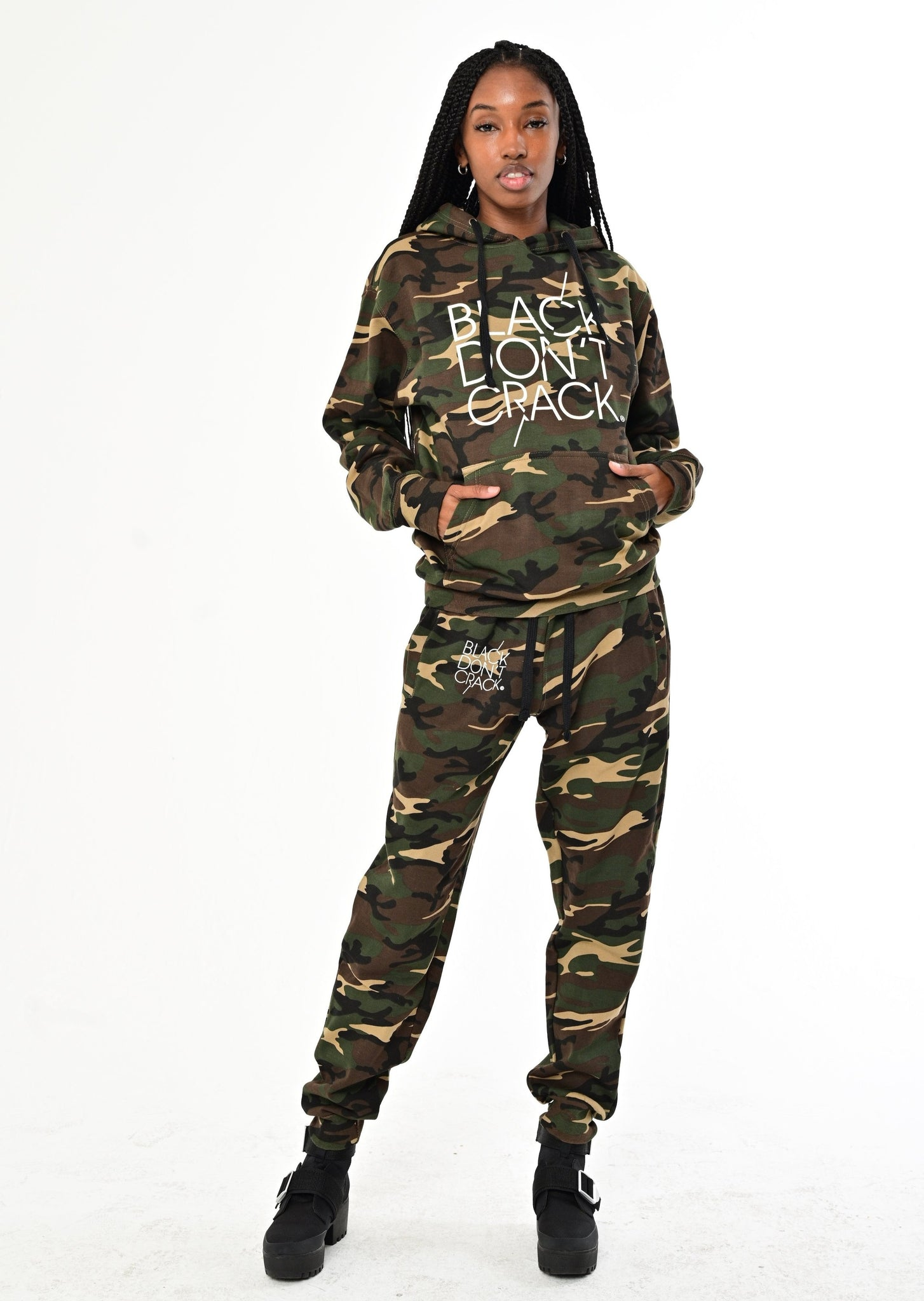 Black Don't Crack Green Camouflage Sweatshirt Pullover Hoodie