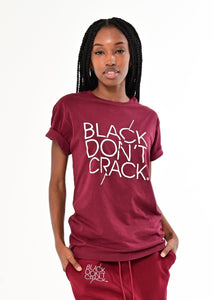 Black Don't Crack Boyfriend Crew-Neck Short Sleeve Burgundy T-Shirt