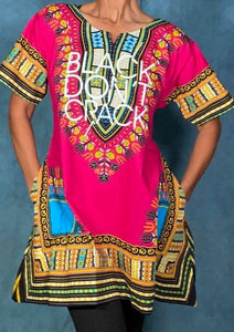 Our women's dashiki dresses certainly makes a bold statement. It's 100% cotton with stay fast dye so the print won't fade or shrink. This multi-color dashiki is the perfect length to wear as a dress alone or over tights or jeans. You will love this Afrocentric dress that adds flare to any day of the week.