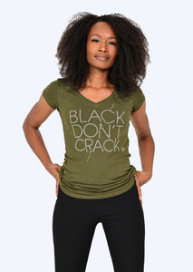 Black Don't Crack Ladies Bling Olive Short Sleeve V-Neck