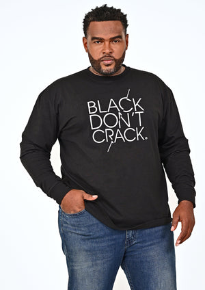 Black Don't Crack Long Sleeve Crew-Neck Pullover T-Shirt