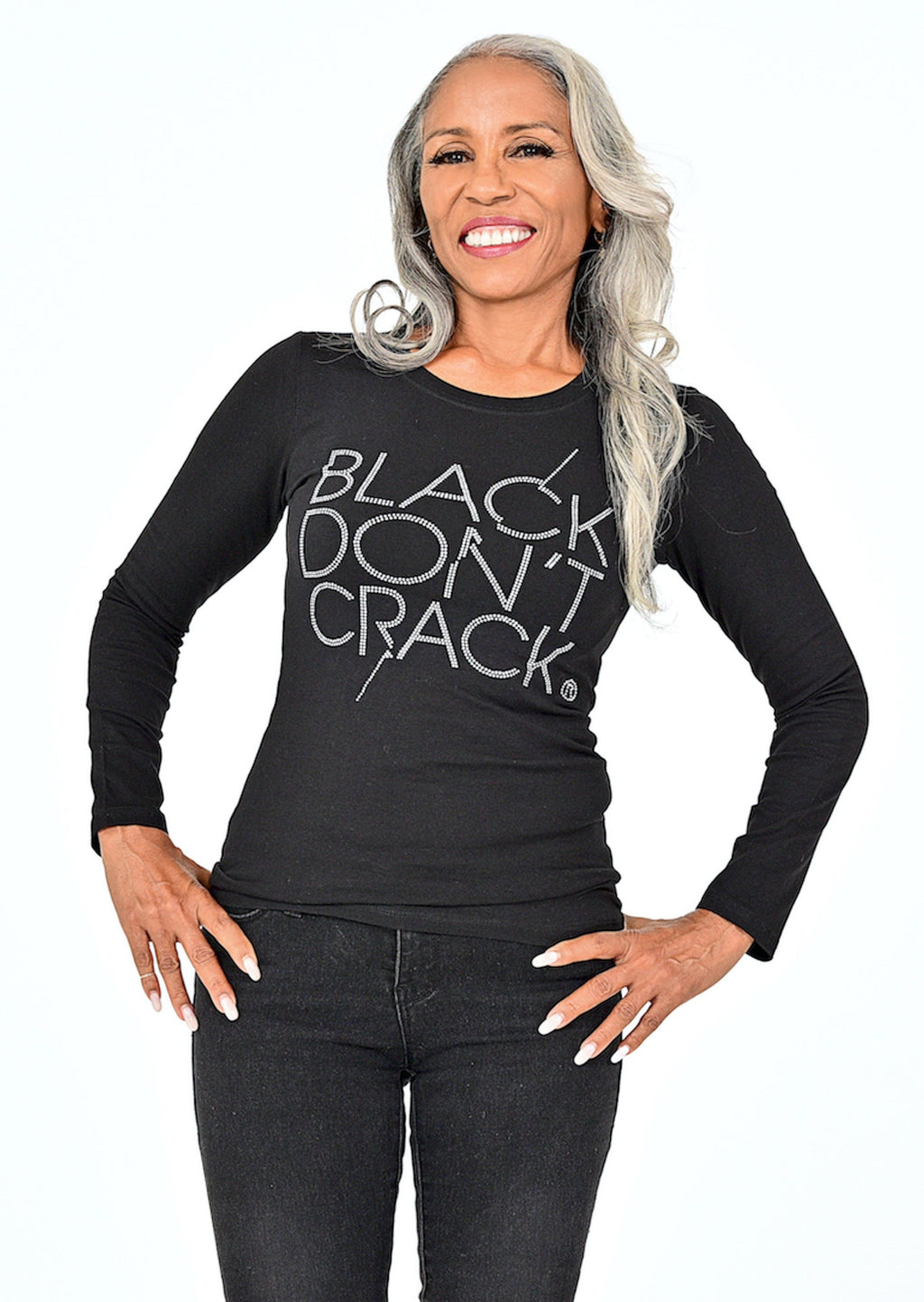 Black Don't Crack Ladies Bling Long Sleeve Black Crew-Neck T-Shirt