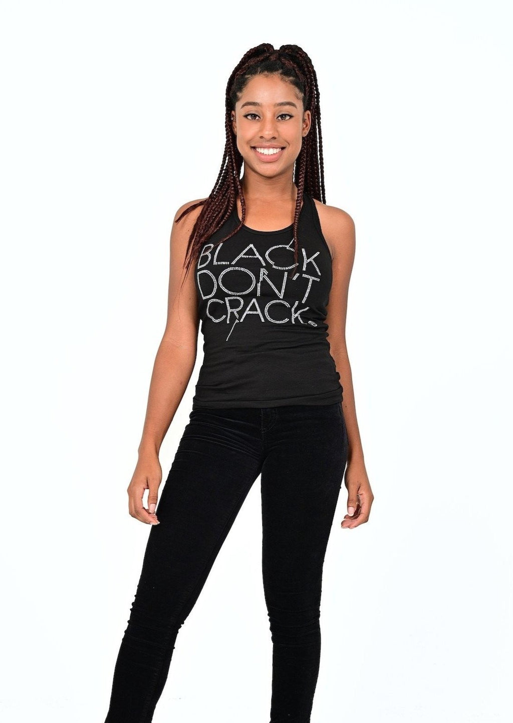 Black Don't Crack Ladies Silver Bling Black Racerback Tank