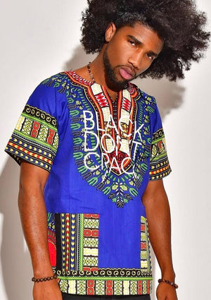 Our men's Black Don't Crack logo dashiki certainly makes a bold statement. It's 100% cotton with stay fast dye so the print won't fade or shrink. This multi-colored Afrocentric dashiki is lightweight and can be worn through the seasons.