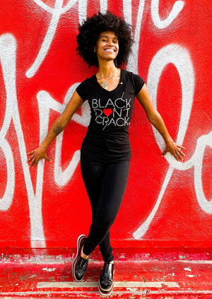 Black Don't Crack Love Collection Bling Short Sleeve Ladies V-Neck