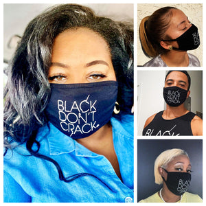 Reusable And Washable Black Don't Crack White Fabric Face-Mask
