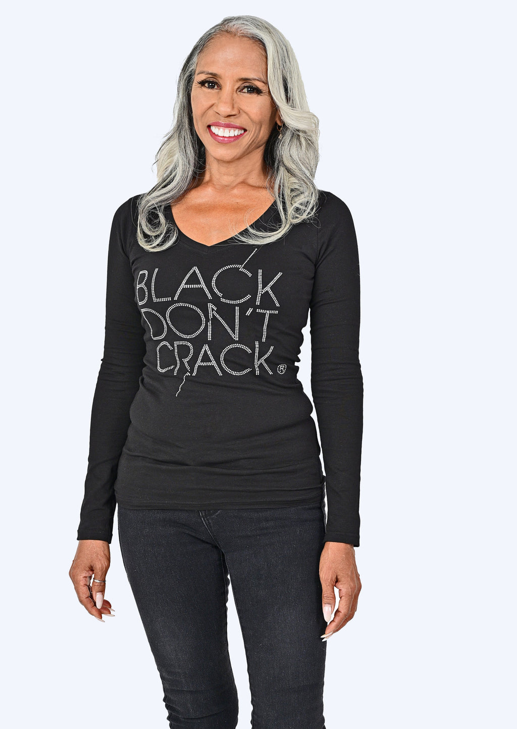 Black Don't Crack Ladies Bling Long Sleeve Black V-Neck