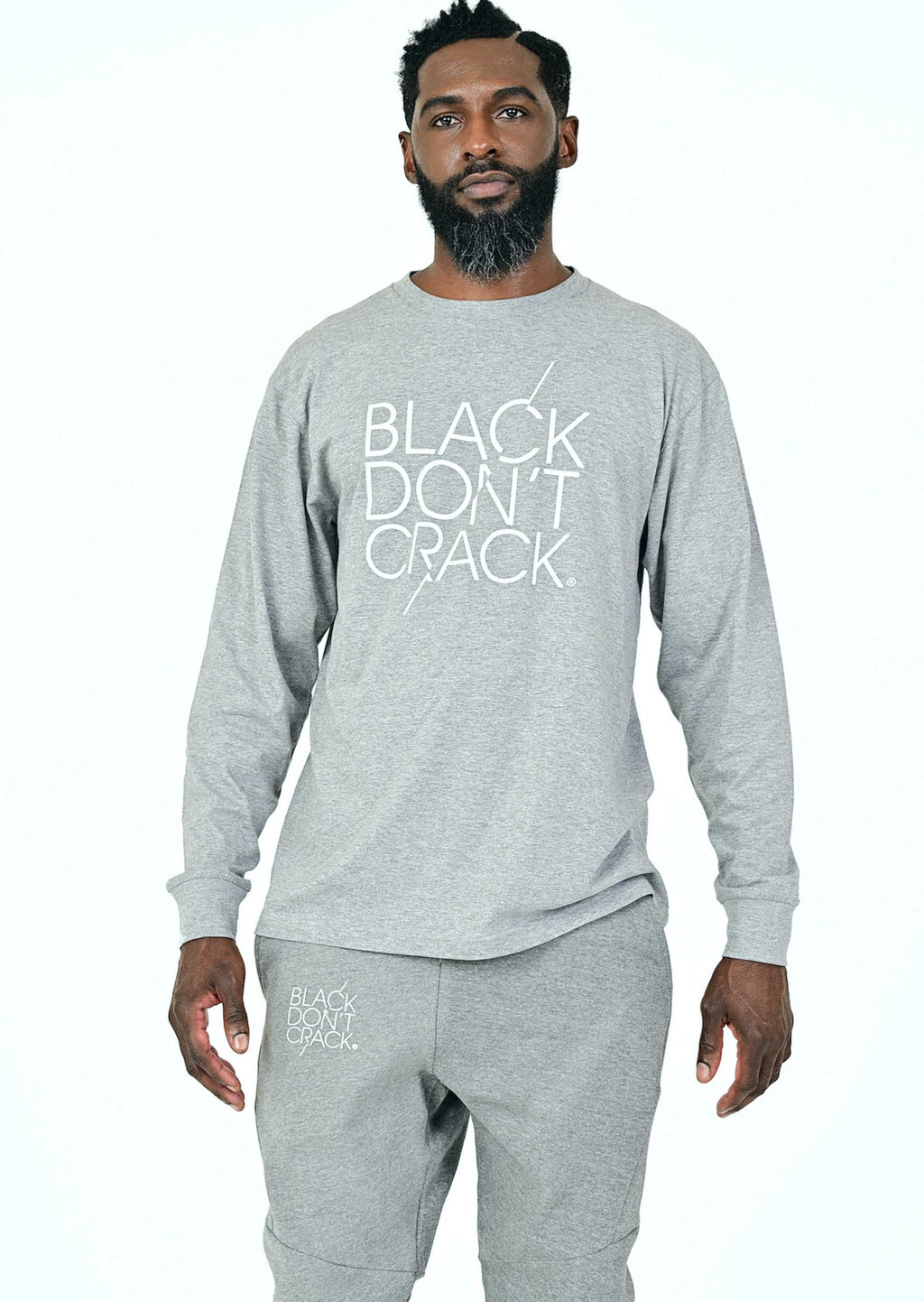 Black Don't Crack Long Sleeve Crew-Neck Pullover Heather Grey T-Shirt