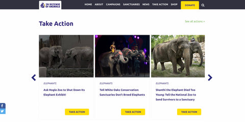 In Defense of Animals Web page