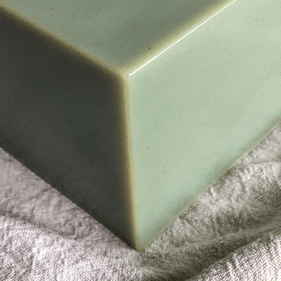 Blue Tansy Bar Soap on White Muslin