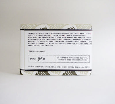 Cedar Sandalwood Bar Soap Back Label | TONIC