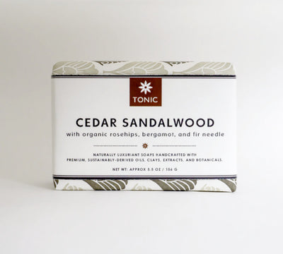 Cedar Sandalwood Bar Soap Front Label | TONIC