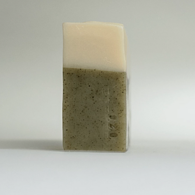 Side view of Eucalyptus Bar Soap with batch number stamped on lower right edge