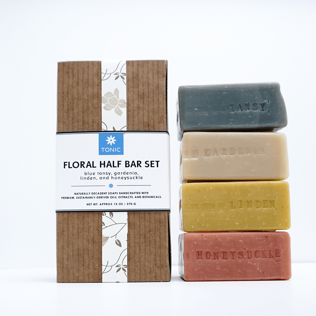 Floral Half Bar Soap Set with blue tansy, gardenia, linden, and honeysuckle luxury bar soaps by Tonic Naturals